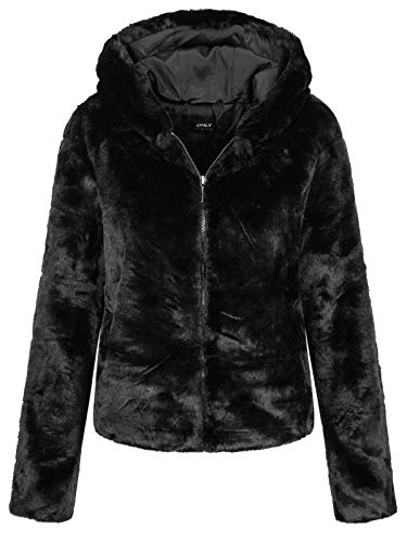 Only Onlchris Fur Hooded Jacket Otw Noos Giacca, Nero (Black Black), Medium Donna