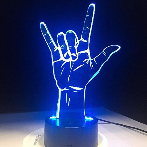 Illusion Je t'aime Langue des Signes Hologramme Nuit lumière opération Romantique décoration de fête Saint Valentin