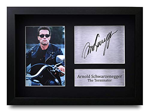 HWC Trading Arnold Schwarzenegger A4 Enmarcado Regalo De Visualización De Fotos De Impresión De Imagen Impresa Autógrafo Firmado por The Terminator Los Aficionados Al Cine