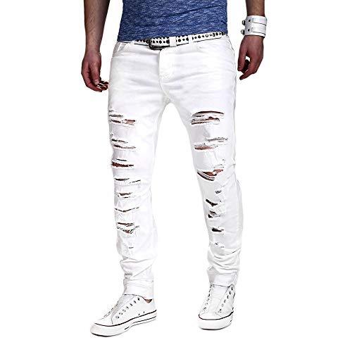 FRAUIT Jeans Strappati Uomo Pantaloni Uomo Slim Fit Elasticizzati Pantaloni Uomini Cargo Estivi Pantaloni Ragazzo Denim Skinny Strappato Pantalone Casual Classico Pants Hiphop Lavoro