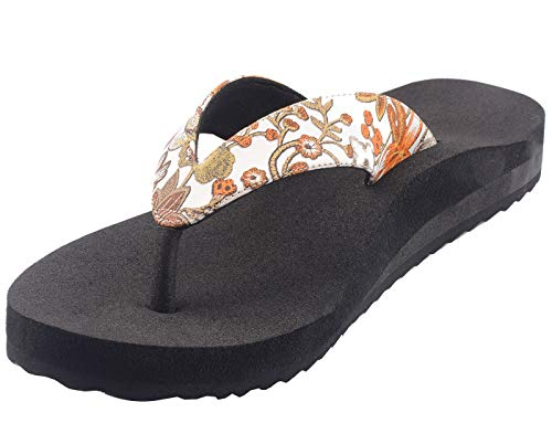 Dia One Orthopedic Sandal RUBBER Sole MCP Insole Pain Relief Diabetic Footwear for Women (Dia_99_BL_FLW_Size_6)