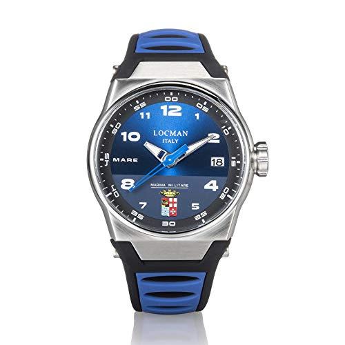 orologio solo tempo uomo Locman Marina Militare trendy cod. 0557A02S-00BLMMSB