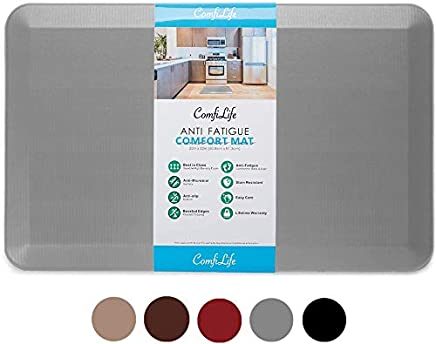 ComfiLife Anti Fatigue Floor Mat – 3/4 Inch Thick Perfect Kitchen Mat, Standing Desk Mat – Comfort at Home, Office, Garage – Durable – Stain Resistant – Non-Slip Bottom – Gray, 20x32 Inch