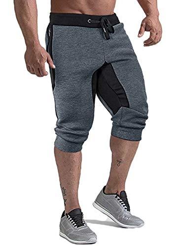 KEFITEVD Fitness Shorts for Men with Pockets Sport Sweat Short Pants for Men Running Capris Pants Gym Shorts Dark Gray