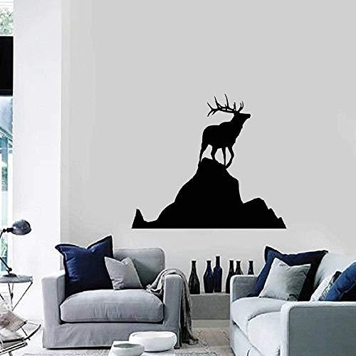 N-P Pegatinas de Pared Ciervos Calcomanía de Pared Roca Animal Silueta Naturaleza Vinilo Vidrio Pegatinas Dormitorio Sala de Estar Guardería Decoración Interior Arte Mural 42X47Cm