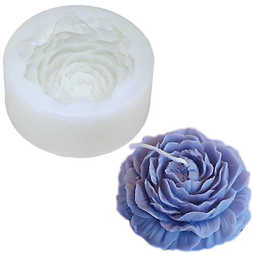Tiruiya - Stampo in silicone per peonia, motivo floreale, per candele di soia, cera d'api, aromaterapia, cioccolato, ideale per realizzare candele fatte a mano (stampo per peonie)