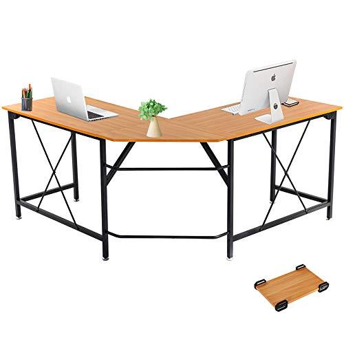 Dawoo Escritorio En Forma De L, Gaming Computer Corner Desk Pc Studio Table Workstation para Home Office, 140 Cm (L) * 50 Cm (W) * 75 Cm (H)(Color Haya B)
