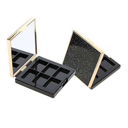 MagiDeal Kit 2pcs Boîte Palette de Maquillage Vide en Plastique de Haute Qulité pour DIY Bricolage de Fard à Paupière Blush Poudre Fond de Teint Cosmétique Caisse avec Miroir