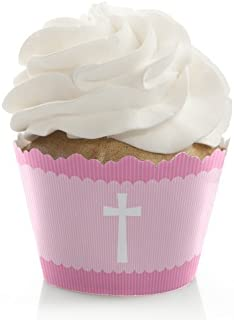 Delicate Pink Cross - Baptism Decorations - Party Cupcake Wrappers - Set of 12