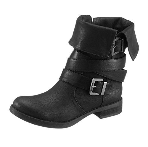 ARIZONA Damen-Stiefelette Biker-Stiefel Krempel-Stiefel schwarz (38 EU)