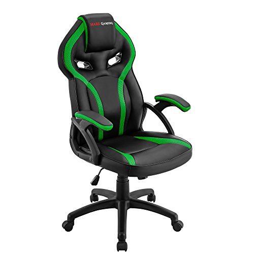 Mars Gaming MGC118 Silla Gaming Ergonomica en PU y Nylon, Regulable, Verde, L
