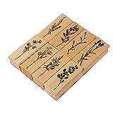 Vegena 8 Pezzi Legno Timbro Set in Gomma, Timbri in Legno in Gomma , Set di Timbri per la Creazione di Biglietti, Timbro in Legno Vintage,Set di Timbri per Piante Naturali,DIY Biglietti e Scrapbooking
