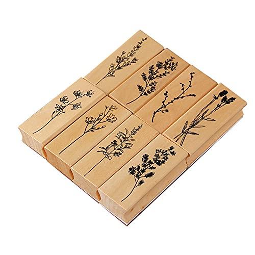 Vegena Holzstempel zum Basteln,8Stück Stempel aus Holz mit Natur Pflanzen Etikett Motive, Holz Stempel Gummi Holz Vintage Holzstempel Keksstempel Tischdeko,Kunsthandwerk und DIY Scrapbooking,8 Modelle