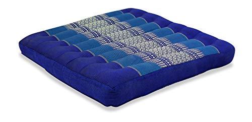 livasia Sitzkissen Stuhlauflage groß I Bodenkissen Indoor / Outdoor I Meditationskissen Yogakissen I Stuhlauflage für Palettenmöbel I Steppkissen für Stuhl und Bank 50 x 50 x 6,5 cm (Blau)