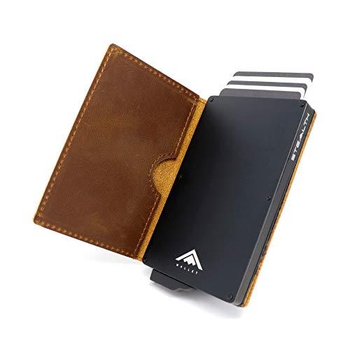 STEALTH Wallet Minimalista Portatarjetas RFID - Slim Ligero Aluminio NFC Bloqueo Pop Up Carteras Tarjeteros (Negro con Cuero de Caballo Loco de Grano Completo Marrón)