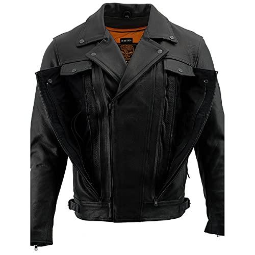 Milwaukee Leather LKM1760 Men's Black Leather Jacket with Utility Pockets - X-Large