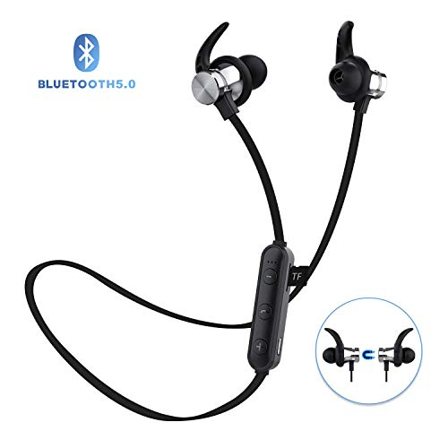 Bluetooth Headphones, ownta Bluetooth 5.0 Wireless Magnetic Earbuds, Snug Fit for Sports with Mic, TF Card Playback(Compatible with iPhone/iPad/Samsung/Android Smartphone)