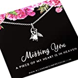 Guardian Angel Necklace • Sterling Silver • Memorial Gifts for Women • Sympathy Gift for Loss • In Memory of Mother Father Miscarriage Child Baby Son Daughter Husband • Piece of My Heart is in Heaven