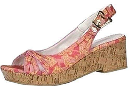 Blink sandalen kurklook satijn roodachtig