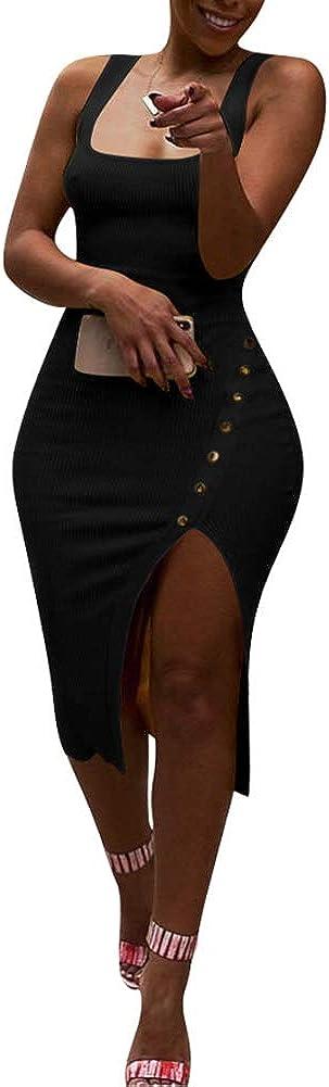Womens Dresses Sexy Club Night Party Cocktail Side Split Bodycon Midi Dress