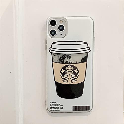 Koffiekopje zwart goud zilver drijfzand telefoonhoesje voor iphone 12 11 pro max hoesjes achterkant voor iphone xr x xs 7 8 plus 12 mini, zwart zand, voor xs max