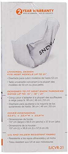 Housse de protection pour souffleuse à neige électrique Snow Joe de 21po - 3