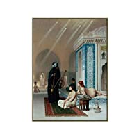 Qqwer キャンバスアート油絵《メイドトルコバスルームの入浴》アートポスター壁アート写真キャンバス絵画リビングルームの家の装飾-50X70Cmx1Pcs-フレームなし