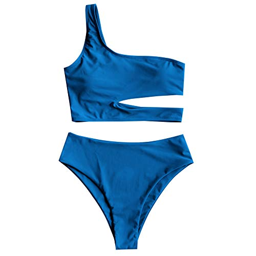 ZAFUL Women's Neon One Shoulder Cutout High Cut High Waisted Tankini Swimsuit (A-Ocean Blue, S)