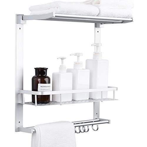 Aoyar Estante de baño sin perforaciones montado en la pared, espacio adhesivo de aluminio, estante de ducha de 2 niveles, cesta de almacenamiento con toallero ajustable y barra de toalla y ganchos de