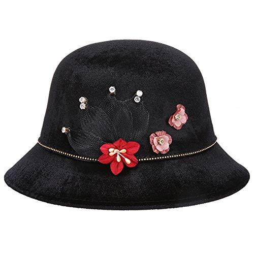 XueQing Damen Herbst und Winter Neuer Seidensamt Hut Mittelalter Mode Hut Kappe (Farbe: Schwarz, Größe: 57 cm)