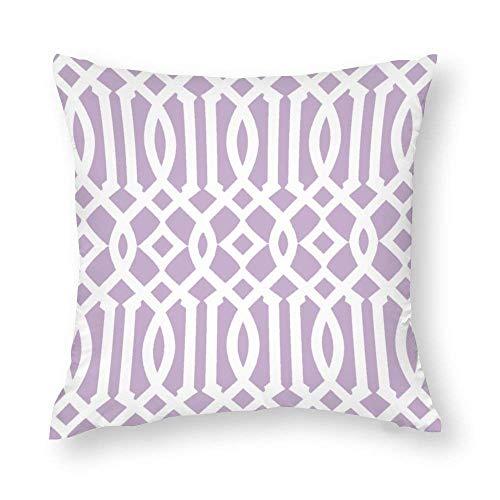 EU Modern Lilac Purple and White Imperial Trellis Throw Pillow Covers Case Cushion Pillowcase with Hidden Zipper Closure for Home Decor 18 x 18 Inches