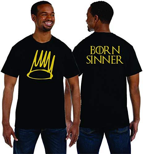 J Cole Born Sinner Crown Design Classic cd Graphic t Shirt dope fire (Black, sm)