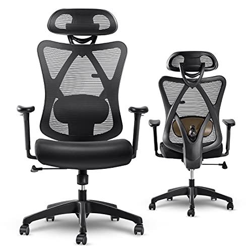 LIFEASE Ergonomischer Bürostuhl, Atmungsaktiver Schreibtischstuhl mit Rückenstütze, verstellbarer Armlehne und Kopfstütze Office Chair, gepolsterter Sitz Computerstuhl mit leisen Rädern (Schwarz)