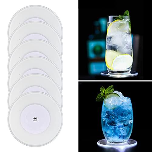 MEDOYOH - 6 sottobicchieri a LED bianchi freddi per bicchieri, ON/OFF usa e getta, impermeabili, sottobicchieri in acrilico, rotondi, per feste, matrimoni, bar, Natale