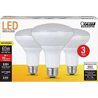 """Feit Electric BR30/10KLED/3 65W Equivalent 8.5 Watt 650 Lumen Non-Dimmable Recessed LED BR30 Flood Light Bulb, 3-Pack, 5.4"""" H x 3.8"""" D, 2700K Soft White"""