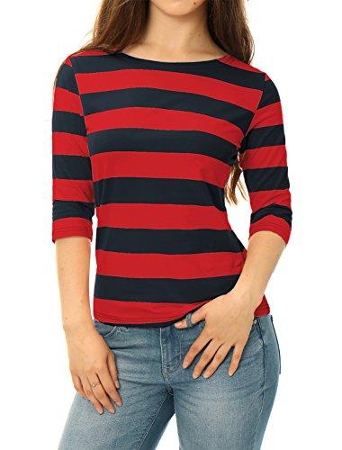 Allegra K Blusa De Rayas Mangas del Codo Cuello Barco para Mujeres Rojo Azul L