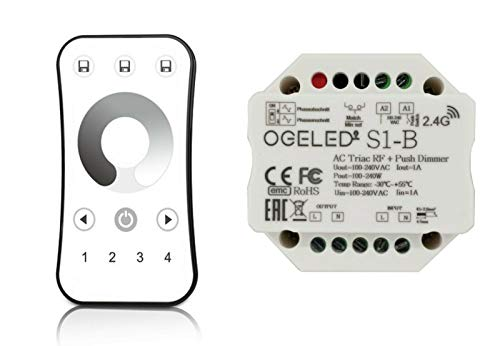 Ogeled 230V Universal-Funk-Dimmer|Unterputz|LED-Dimmer|240W LED|Halogen (4 Zone FB+AC Dimmer)