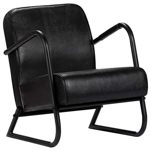 yorten Sillón Relax de Cuero Auténtico para Dormitorio o Sala de Estar 58 x 70 x 78 cm Negro