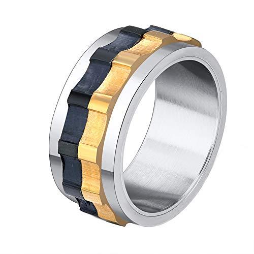 OAKKY Herren Drehbare Zahnrad Ring Spinner Ehering Edelstahl, Größe 70