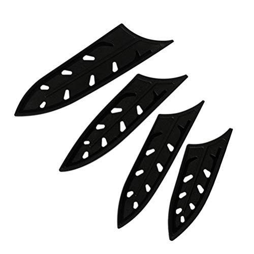 YARNOW Klingenschutz Kunststoff Transparent Universal Messerschutz Schutzhülle für Messer Kochmesser Küchenmesser Schwarz Größe 5 Zoll 10 Stück