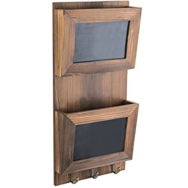 MyGift Wall-Mounted Wood Mail Sorter with Chalkboard Panels & Key Hooks