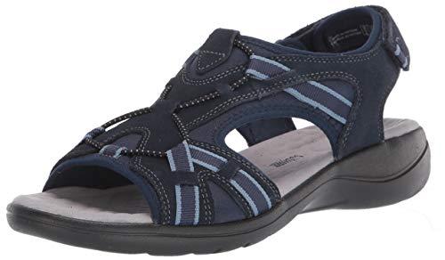 Clarks Women's Saylie Loop Sport Sandal, Navy Suede, 6.5