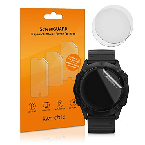 kwmobile 3X Protector Transparente Compatible con Garmin Fenix 6X (51mm) -Lámina Compatible con Display de Actividad Fitness Tracker