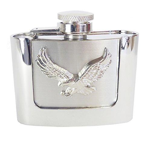 Westernwear-Shop Gürtelschnalle Flask Flying Eagle 2oz (60 ml) - Enthält einen Flachmann fliegender Adler Gürtelschnalle Gürtelschließe Western Belt Buckle Westerngürtelschnalle Silber