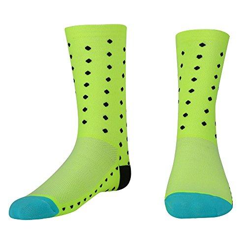 Filfeel Calcetines de Correr para Hombres, Calcetines de equitación, Calcetines Deportivos (adecuados para 39-45)(Amarillo Fluorescente)