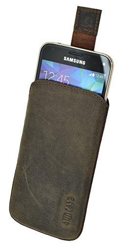 Suncase Original Tasche für Samsung Galaxy S5 Mini (SM-G800F) Leder Etui Handytasche Ledertasche Schutzhülle Hülle Hülle *mit Rückzuglasche* / antik-Dark braun