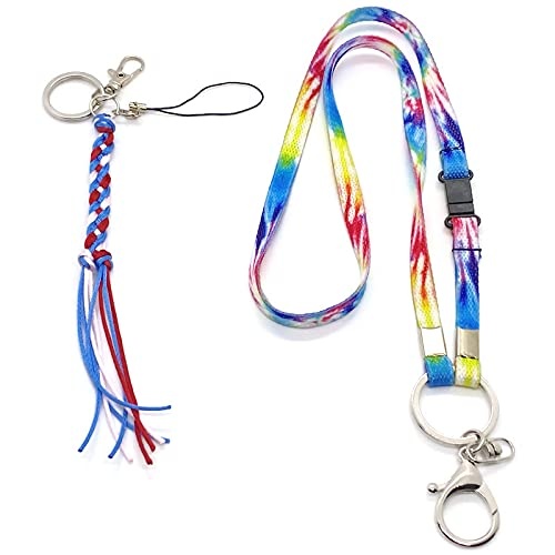 Colorful Lanyard for Keys, ID Badges, Wear Around Neck and Wrist, Functional, Stylish, Unique, Cute, Cool Key Chain Holder (with a Matching Handmade Key Chain) (RYB)
