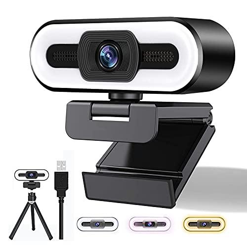 Webcam 2K con Microfono, Full HD 1080P Streaming Webcam, Webcam con Luce ad Anello e Treppiede, USB Web Camera per PC/Laptop/Mac, Skype, Zoom, YouTube, ideochiamate, Studio, Conferenza, Registrazione