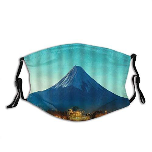 Natürliche Landschaft Berg Fuji Japan Berg Aktiv Vulkan Sonnenuntergang Stadt See Sternenhimmel Unisex Anti-Staub Baumwolle Mundmaske waschbar wiederverwendbar