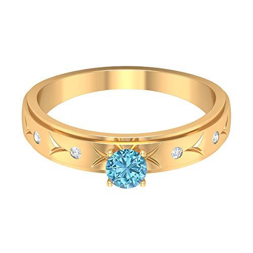 Anillo solitario de aguamarina de 4 mm, anillo de diamante HI-SI, anillo grabado en oro, anillo apilable, oro de 18 quilates. azul